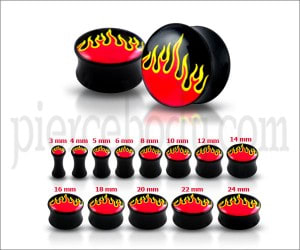 Double Flared Flame Logo Ear Plug