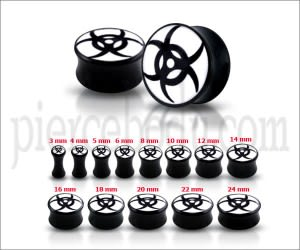 Double Flared Tribal Logo Ear Plug