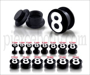 Black UV Internal #8 Logo With Screw Fit Ear Tunnel