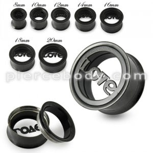 Black Love Plate Top Screw Fit Flesh Tunnel