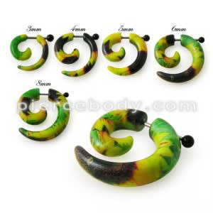 Spiral Taper Solid Color Acrylic Ear Cheater Plugs