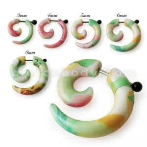 Mix Color Marbel Spiral Fake Ear Plug Expander