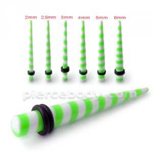Green Stripe Straight Ear Expander