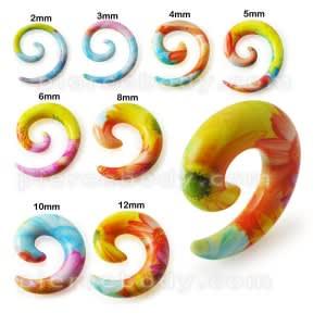 Colorful Fancy Flower Acrylic Spiral Ear Taper