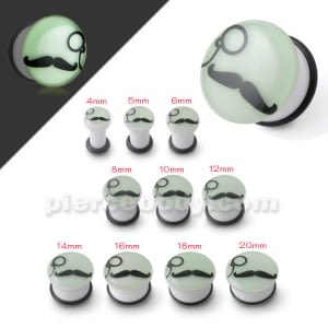 Glow In The Dark Mustache and Monocle Ear Plug