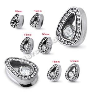Clear Jeweled Tear drop Ear Plug