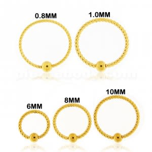 Flexible Gold PVD Surgical Steel Twisted BCR Piercing