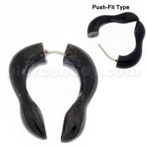 Organic Horn Fake 6 mm Long Horseshoe Ear Plug Piercing