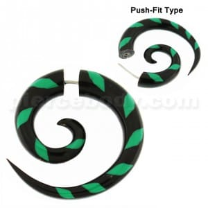 Organic Horn 7 mm Spiral with Green inlay Fake Ear Plug Gauges