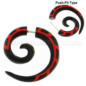 Red Tribal Inlay Organic Horn 5 mm Spiral Fake Ear Plug