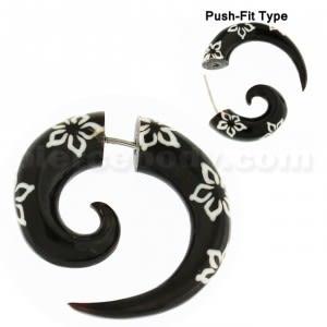 Organic Horn 8 mm Spiral with Flower inlay Fake Ear Plug Gauges