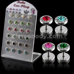 Multi Jeweled Fake Invisible Ear Plug in a Display