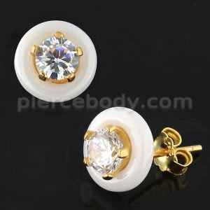 Pure White CERAMIC Heart with CZ Gold Platted Sterling Silver Ear Stud