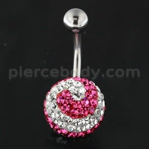 Pink And White Layer Crystal Studded in Silver With SS Bar Belly Ring