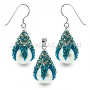 Aqua and White Crystals Dragon Claw Setting over Synthetic Pearl 925 Sterling Silver Set Jewelry