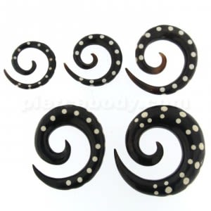 Organic Horn with Dots Inlay Ear Expander Gauges