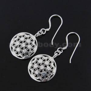 925 Sterling Silver Flower of Life Ear Ring