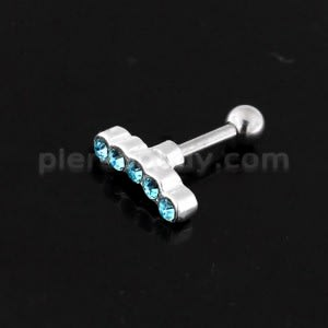 925 Sterling Silver 5 Cz's Curve Cartilage Tragus Piercing