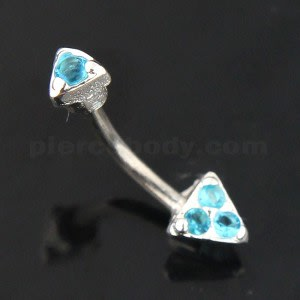 Tri Jeweled Triangle Sterling Silver Eyebrow Bar