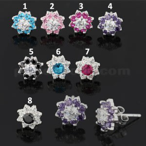 925 Sterling Silver 10 mm Jeweled Flower Ear Stud Earring