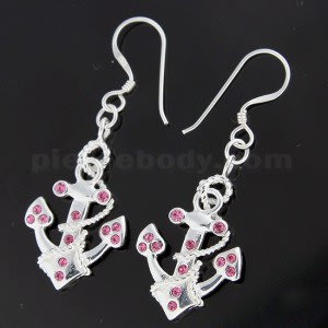 925 Sterling Silver Jeweled Anchor Hook Earring