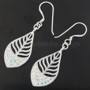 925 Sterling Silver Multi jeweled Leaf Hook Earring