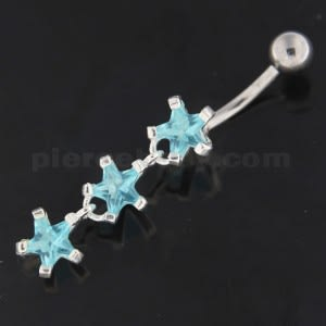 Sterling Silver Dangling Tri Stars Navel Belly Button Bar