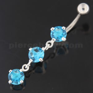Sterling Silver Dangling Tri Rounds Navel Belly Button Bar