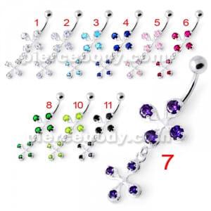 Fancy Jeweled Dangling Navel Bar PBM2080