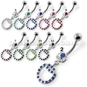 Fancy Round Milti Jeweled Dangling Navel Belly Piercing