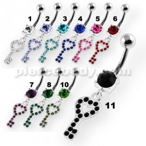 Multi Jeweled Heart Key Navel Belly Button Piercing