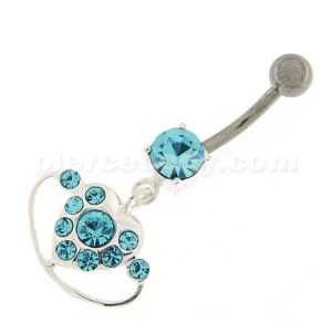 Hanging Heart Ring Navel Belly Button Ring