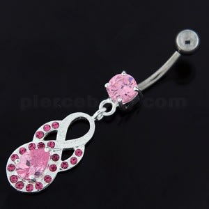 Tear Drop CZ with Fusion Infinity Dangling Navel Belly Button Ring