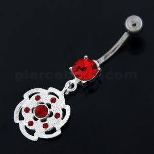 Swirl Flower Dangling Navel Belly Button Ring