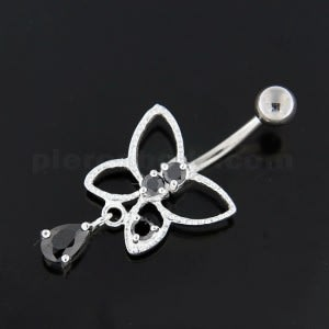 Jeweled Butterfly Cut out Navel Belly Button Ring