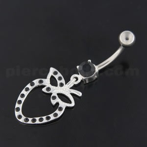 Sterling Silver Strawberry cut out Navel Belly Button Bar