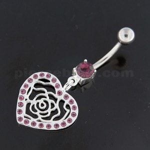 Dangling Rose Cut out Heart Belly Button Bar