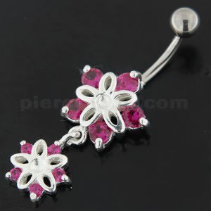 Jeweled Twin Flowers Sterling Silver Belly Button Ring