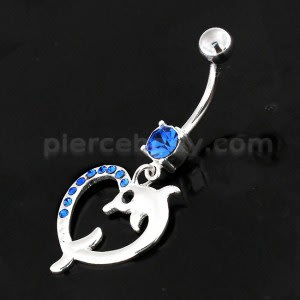 Jeweled Dolphin Heart 925 Sterling Silver Navel Belly Piercing