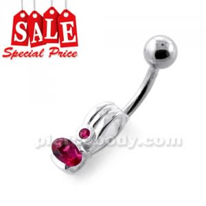Fancy Jeweled Silver Navel Belly Banana CLER083