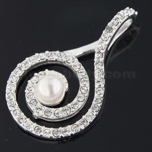 925 Sterling Silver Jeweled Fancy Centered PEARL Pendant