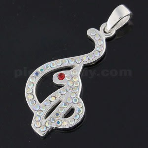 925 Sterling Silver Jeweled Red Eyed Jeweled Baby Phat Pendant