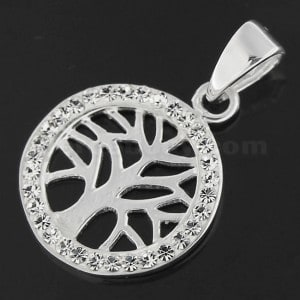 925 Sterling Silver Jeweled Tree of Life Pendant