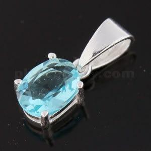 925 Sterling Silver Jeweled Fancy Single Stone Pendant