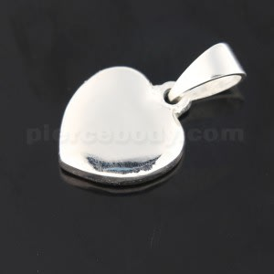 925 Sterling Silver Jeweled Plain Heart Pendant