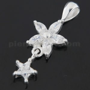 925 Sterling Silver Jeweled Flower with Star Pendant