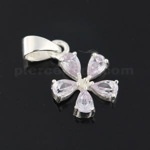 925 Sterling Silver Jeweled Fancy Flower Pendant