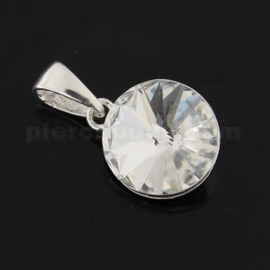 925 Sterling Silver 11 mm Round Stone Pendant