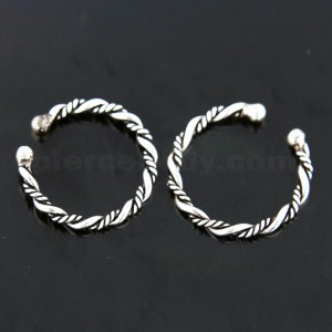 Flexible Sterling Silver Twisted Circular Fake Septum Piercing