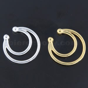 925 Sterling Silver Twin Horseshoe Fake Septum Piercing